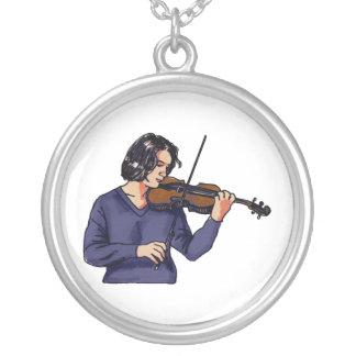 Camisa femenina del azul del jugador del violín colgantes personalizados