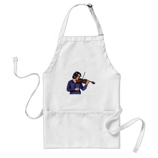 Camisa femenina del azul del jugador del violín delantales
