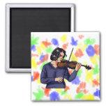 Camisa femenina del azul del jugador del violín iman de nevera