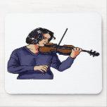 Camisa femenina del azul del jugador del violín tapetes de ratón
