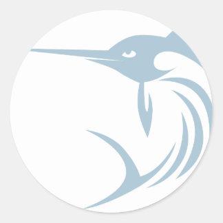 Camisa fresca del logotipo del icono de los peces pegatina redonda