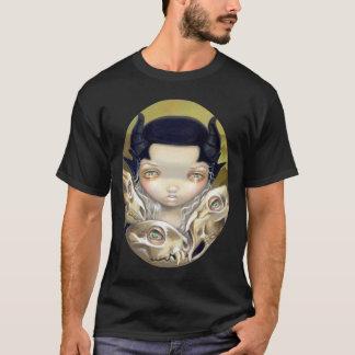 Camisa gótica lowbrow del cráneo de los huesos