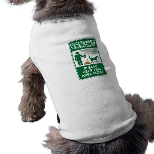 Camisa inútil del mascota de la muestra del unicor camiseta de perro