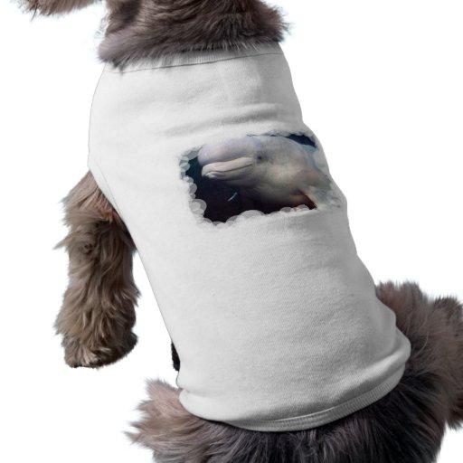 Camisa linda del mascota de la ballena de la playera sin mangas para perro