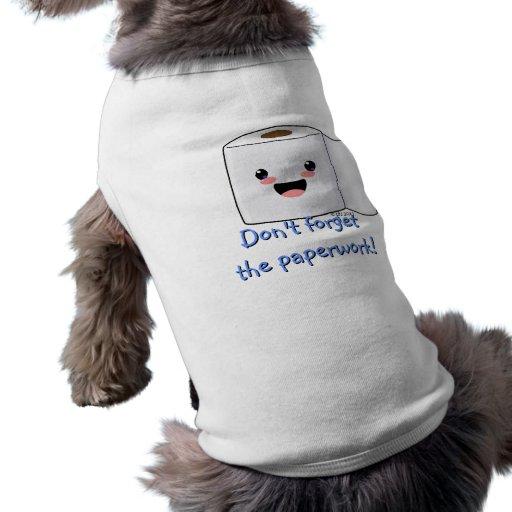 Camisa linda del mascota del rollo del papel higié playera sin mangas para perro