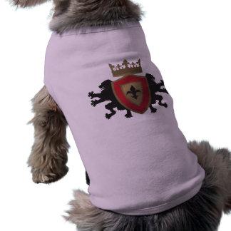 Camisa medieval roja del perro de la heráldica del ropa de mascota