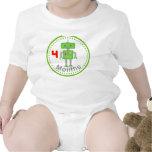 Camisa mensual del bebé 4 meses de diseño verde de