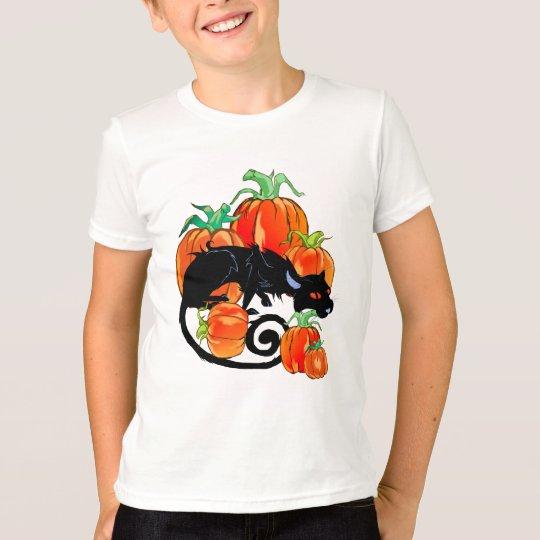 Camisa negra del gatito de Halloween