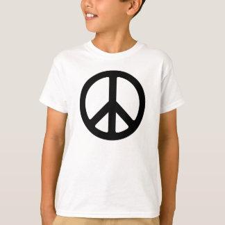 Camisa negra del signo de la paz de los niños