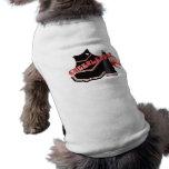 Camisa negra roja del perro de la animadora camiseta de perrito