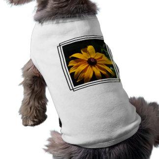 Camisa negra y amarilla del mascota de la flor ropa perro
