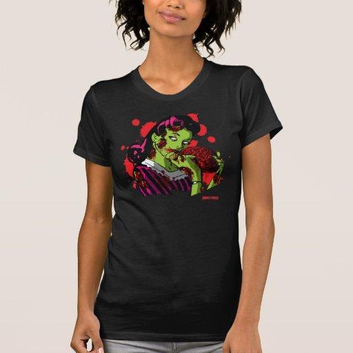 Camisa para mujer del chica del zombi por la casa