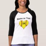 Camisa personalizada del corazón del softball para