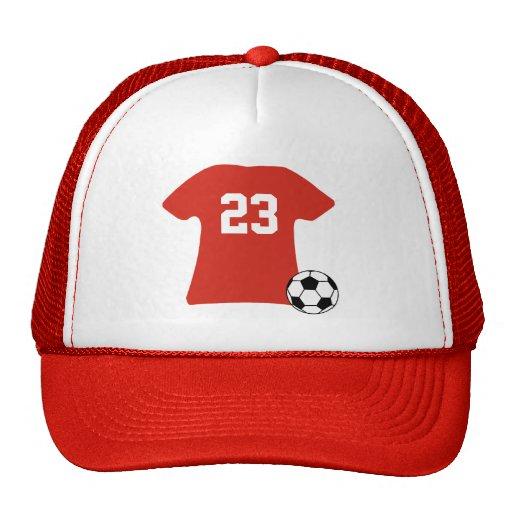 Camisa personalizada del fútbol con la bola gorra