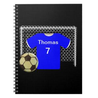 Camisa personalizada equipo azul del fútbol libro de apuntes