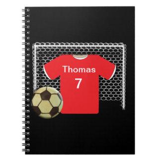 Camisa personalizada equipo rojo del fútbol libro de apuntes con espiral