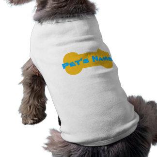 Camisa personalizada hueso masticada amarillo 3 playera sin mangas para perro