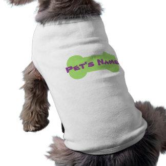 Camisa personalizada hueso masticada verde 2 del playera sin mangas para perro