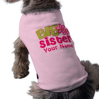 Camisa personalizada verde del perro del rosa de l playera sin mangas para perro