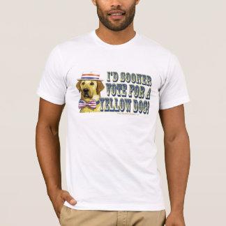 Camisa retra de Demócrata del perro amarillo