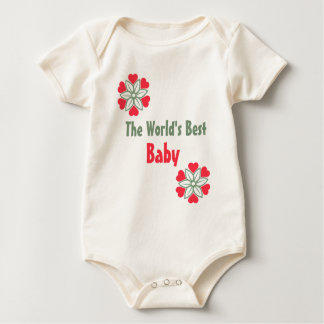 Camisa roja de la flor de los corazones del bebé