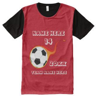 Camisa roja del fútbol con el nombre del jugador