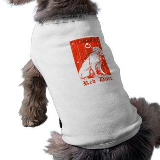 Camisa roja del perro de la puerta camiseta de mascota