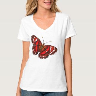 Camisa roja tropical de las señoras de la mariposa