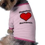 Camisa romántica desesperada del mascota camisas de mascota