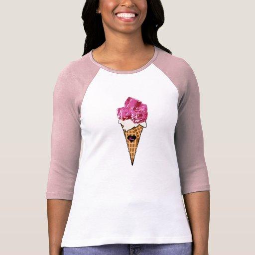 Camisa rosada del cono de helado