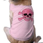 Camisa rosada del cráneo del camuflaje y del perro ropa macota