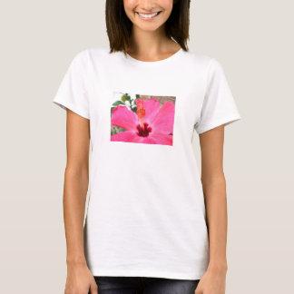 Camisa rosada del hibisco, personalizable