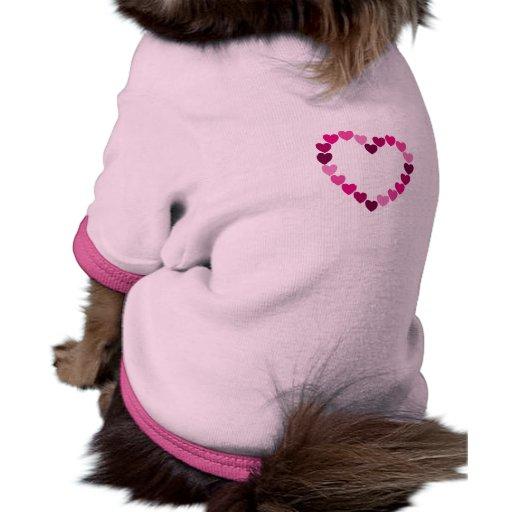 Camisa rosada del mascota del corazón de los coraz camiseta con mangas para perro