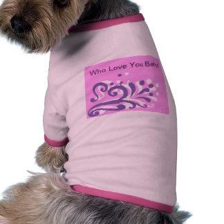 camisa rosada del mascota del diseño del corazón p camisa de mascota