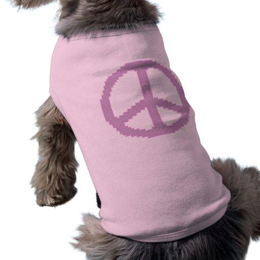 Camisa rosada del perrito del signo de la paz camiseta de perrito
