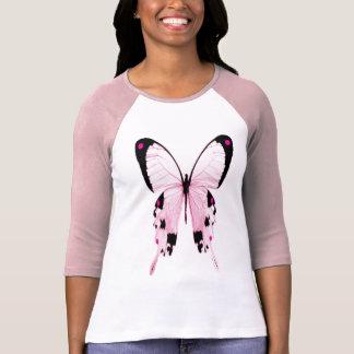 camisa rosada y negra de la mariposa
