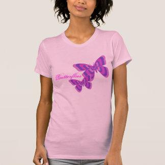 Camisa rosada y púrpura de la mariposa
