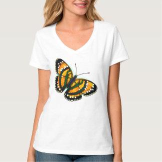 Camisa tropical de las señoras de la mariposa del