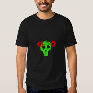 Camisa verde de neón punky del cráneo