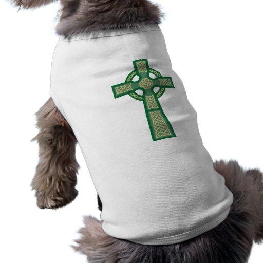 Camisa verde del perro de la cruz céltica playera sin mangas para perro