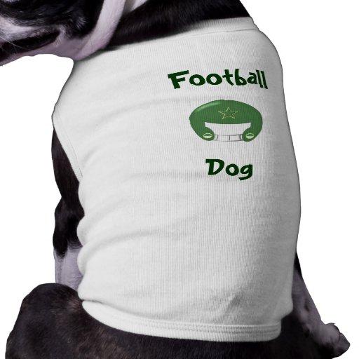 Camisa verde del perro del fútbol playera sin mangas para perro