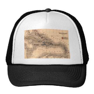 Camisa vieja de la zambullida del mapa del Caribe Gorros