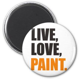 camisa viva de la pintura del amor imán redondo 5 cm