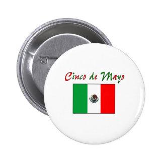 Camisa y regalos de la bandera mexicana de Cinco d Pin Redondo 5 Cm
