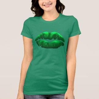 Camiseta 2 de las señoras del beso del verde del