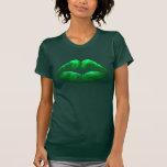 Camiseta 2 de las señoras del beso del verde del d