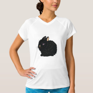 Camiseta activa para mujer del conejo negro playera
