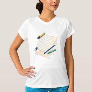 Camiseta activa para mujer del lápiz y del papel