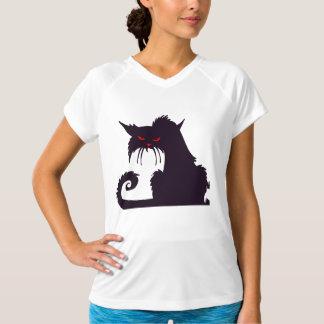 Camiseta activa para mujer gruñona del gato negro playera