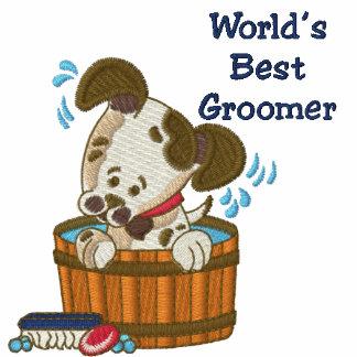 Camiseta adaptable del baño del Groomer del perro/ Sudadera Bordada Con Capucha